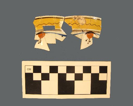 Hand-painted pearlware vessel fragments