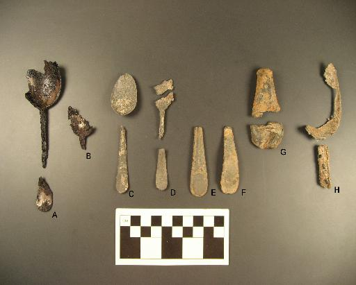 Iron, pewter, and pewter alloy spoon fragments