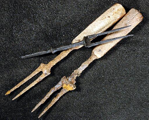 Iron fork, Fork with bone handles, Part of an iron fork